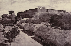 View of the Hill Fort at Trimium from top of the gateway of the outer wall. [Tirumayam.]